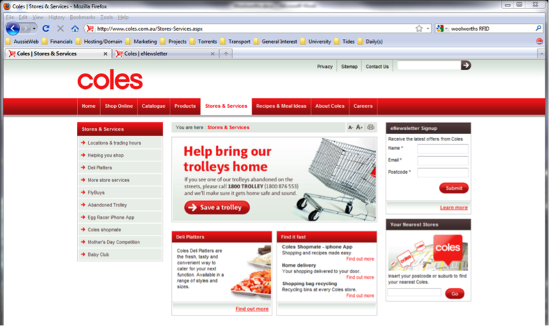 Figure 5 – Coles eNewsletter Signup