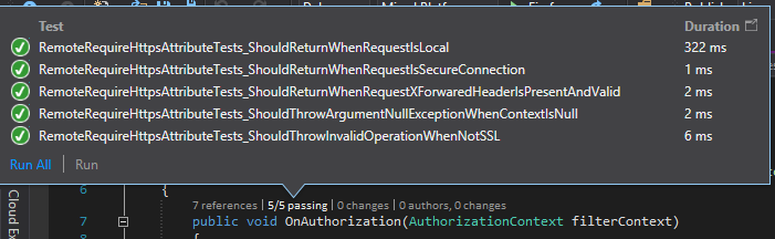 Figure: 5 of 5 passing tests are all for RemoteRequireHttpsAttribute ActionFilter.
