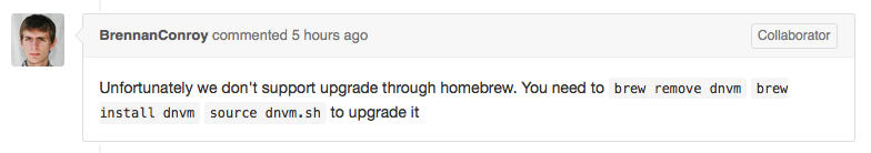 Unfortunately we don't support upgrade through homebrew.